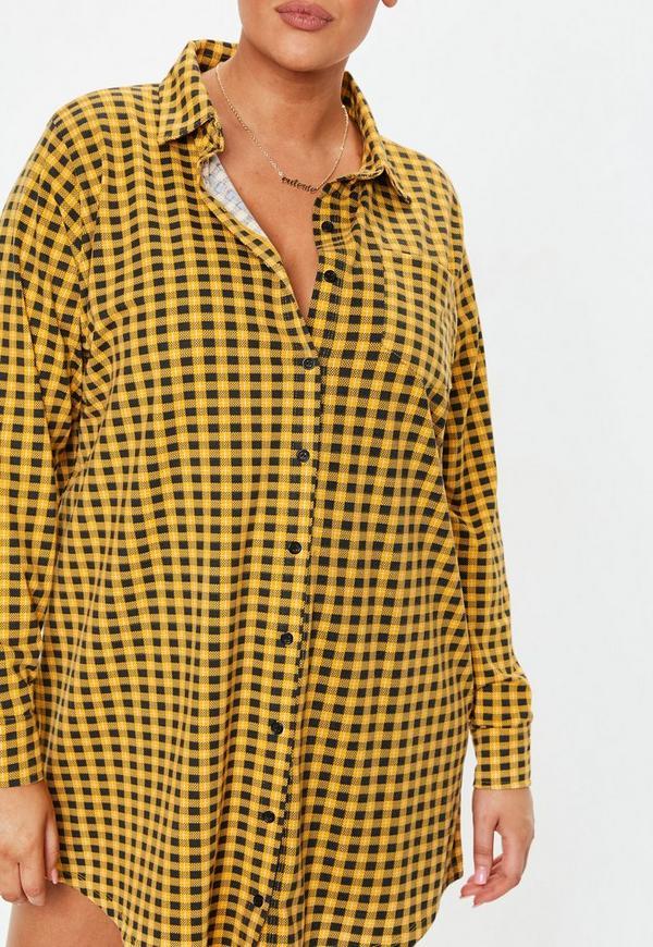 5a4876e5c6bd6 ... Plus Size Yellow Plaid Jersey Shirt Dress. Previous Next