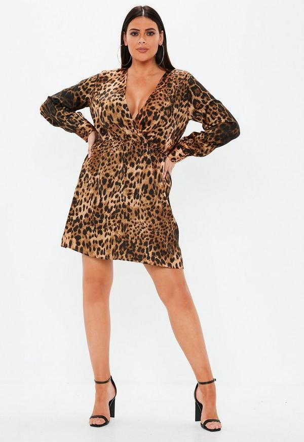 plus size brown leopard print skater dress