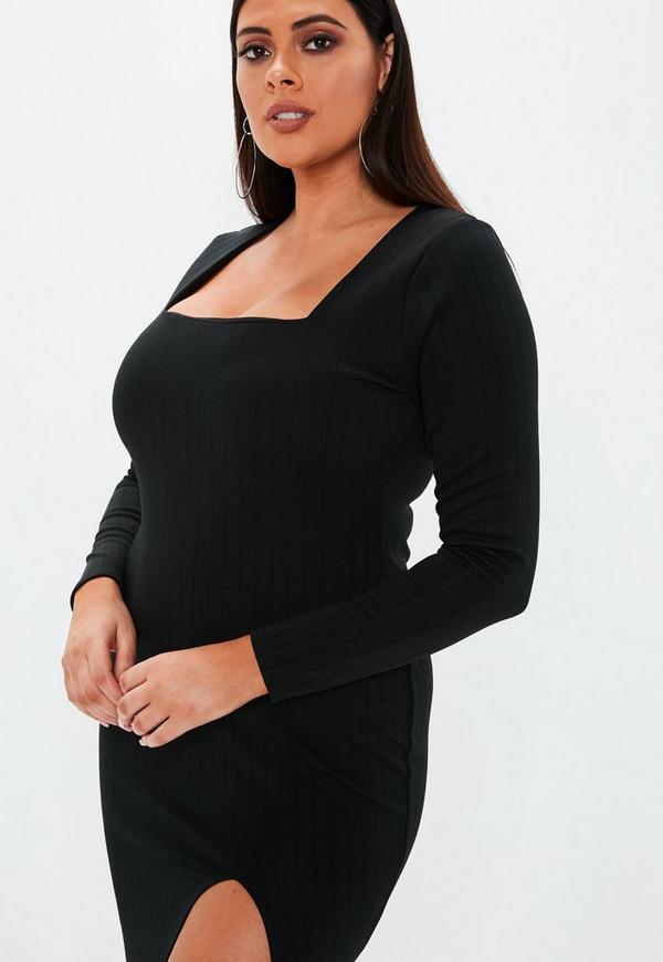 89fb3af1d21d0 ... Plus Size Black Bandage Square Neck Midi Dress. Previous Next