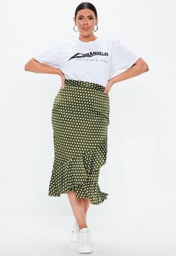 24b0ba7de5d ... Plus Size Khaki Polka Dot Wrap Over Midi Skirt