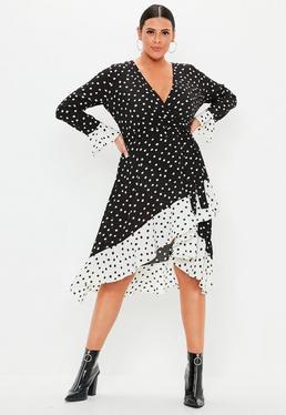 259201e497f Plus Size Dresses · Midi Wrap Dresses · Polka Dresses