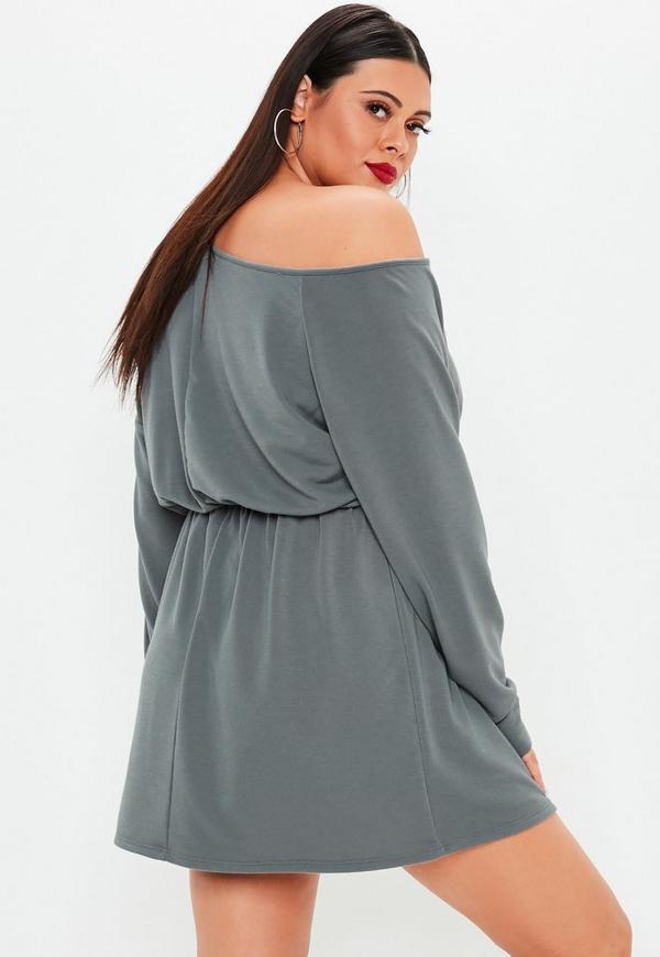 270a32dcc17 ... Plus Size Grey Off Shoulder Jumper Dress. Previous Next