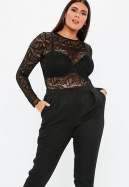 3e5eb402fe79e ... Plus Size Black Long Sleeve Lace Bodysuit