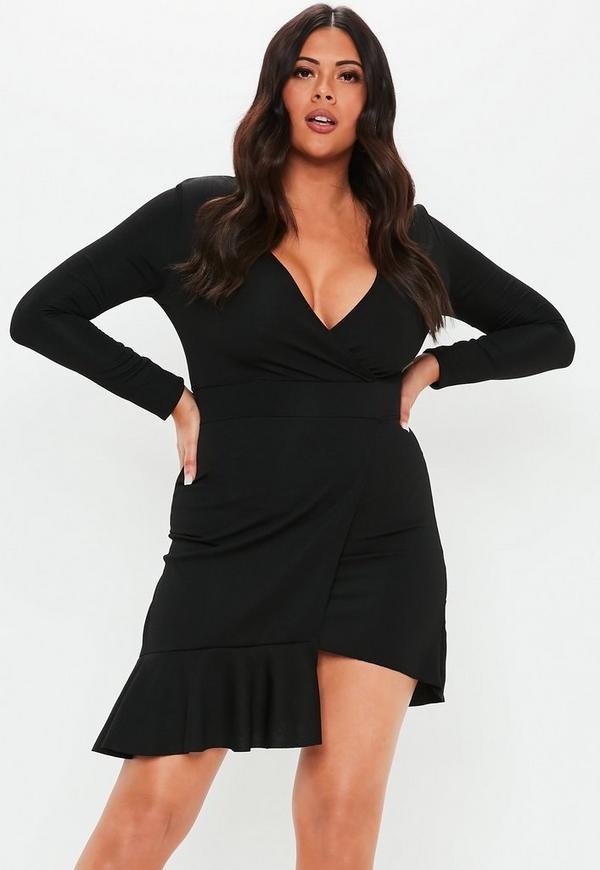 Plus Size Black Frill Hem Mini Dress  ce5f245b9