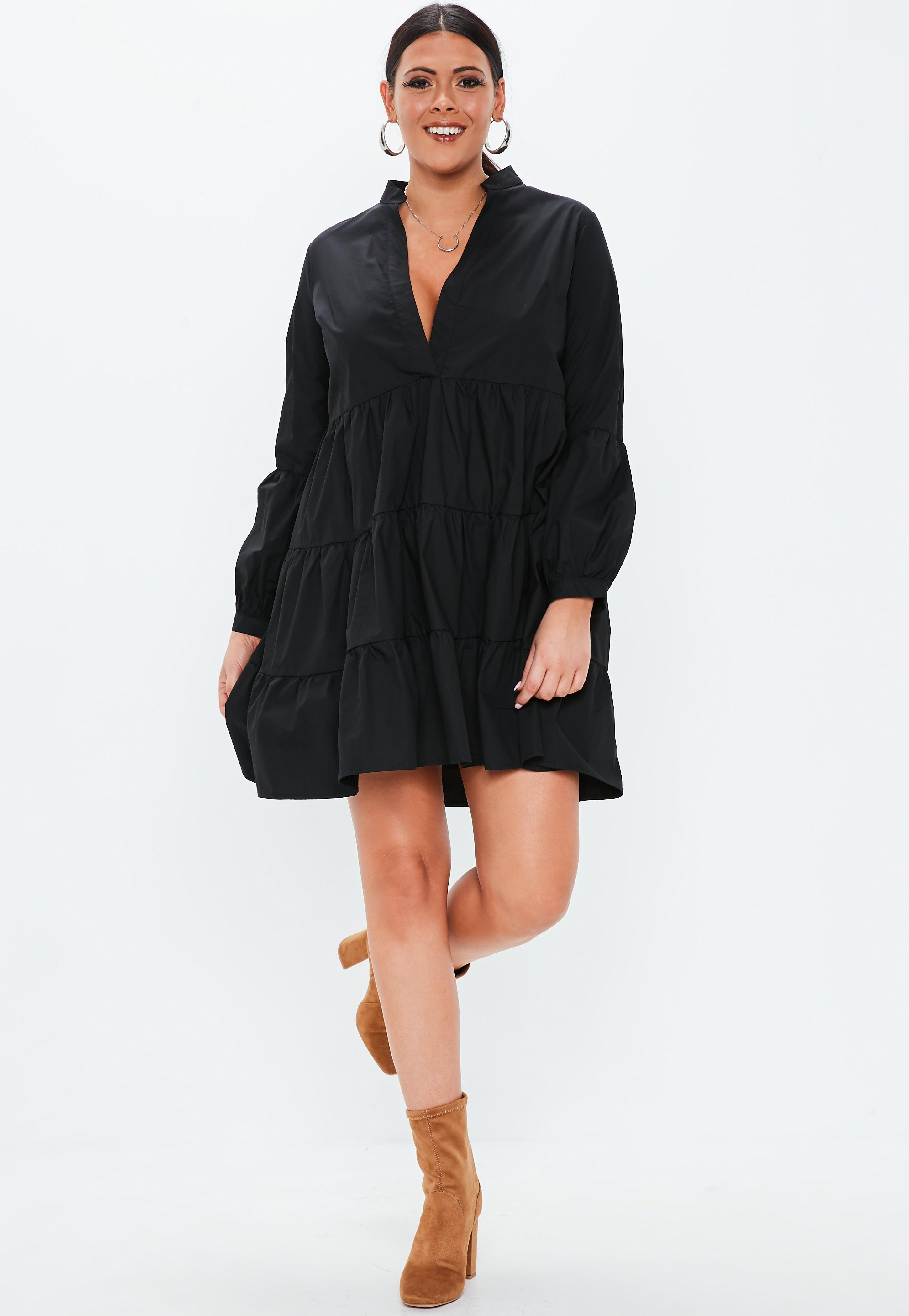 Plus Size Black Cotton Tiered V Neck Dress