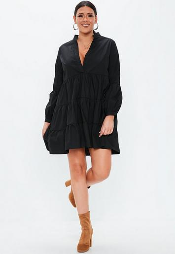 Plus Size Black Cotton Tiered V Neck Dress   Missguided