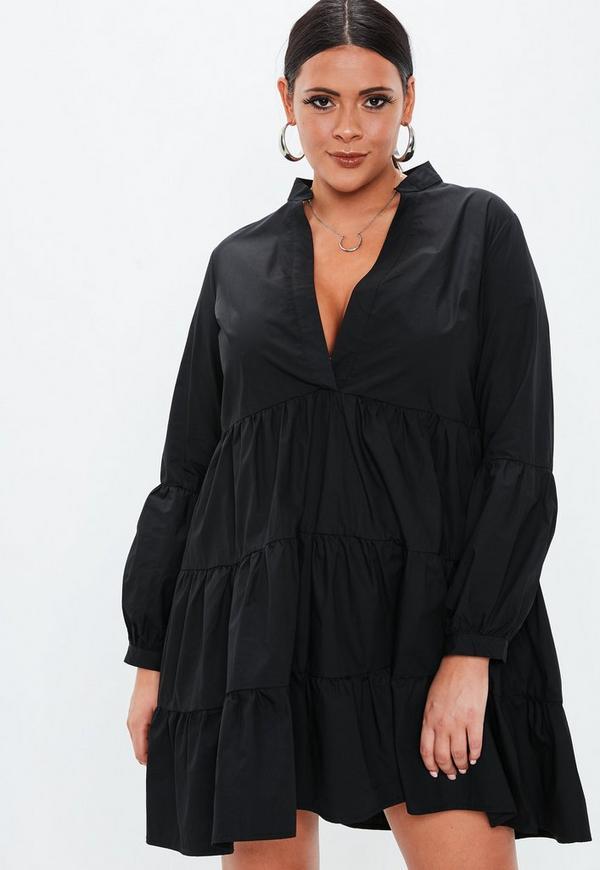 ... Plus Size Black Cotton Tiered V Neck Dress. Previous Next 0236c6381