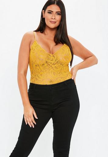 Plus Size Mustard Lace Bodysuit   Missguided