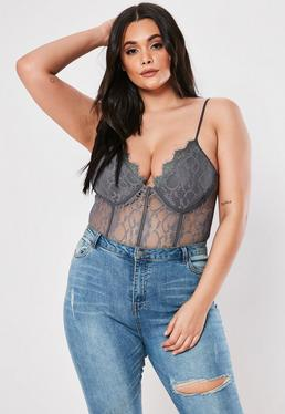 05f547e2cf0 ... Plus Size Gray Lace Pipe Detail Bodysuit