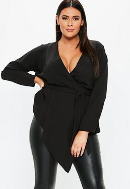 39b014e559b71 Plus Size Black Tie Front Wrap Over Blouse