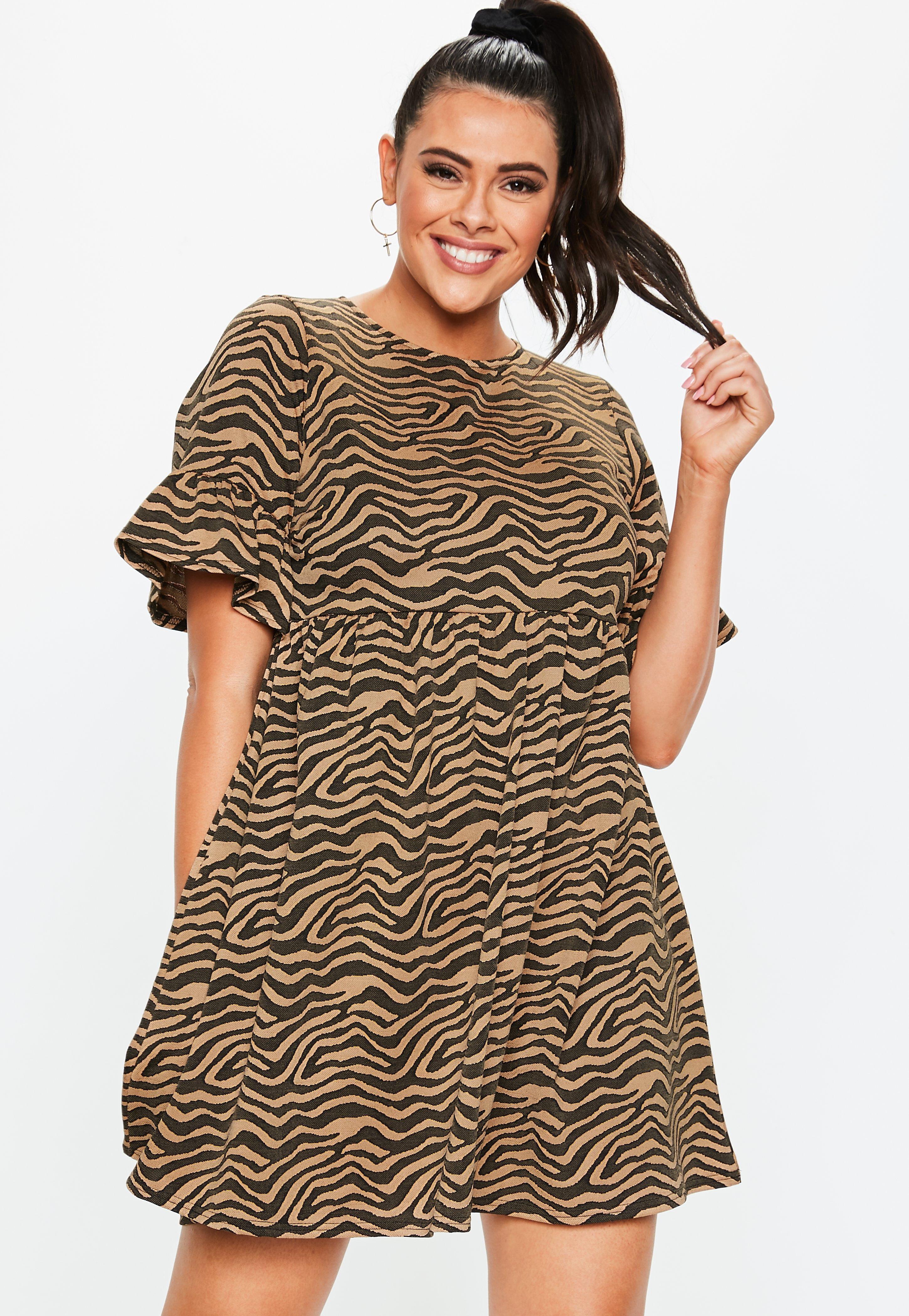 bf084671c0f Plus Size Animal Print Frill Smock Dress