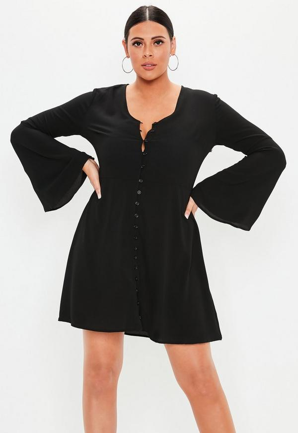 9cd3ab867e8 Plus Size Black Flare Sleeve Button Skater Dress