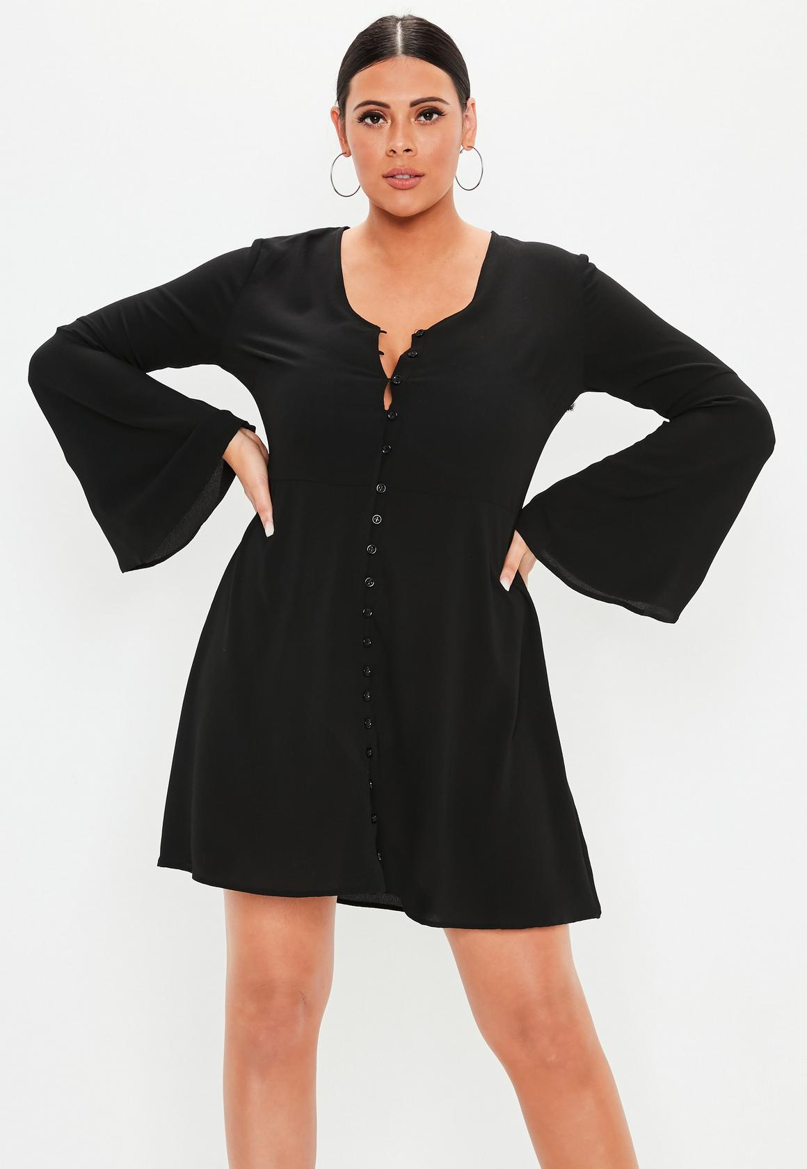 Plus Size Black Flare Sleeve Button Skater Dress