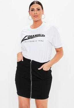 dcd4bed9110 Plus Size Black Faux Leather Mini Skirt  Plus Size Black Superstretch Zip  Through Mini Skirt
