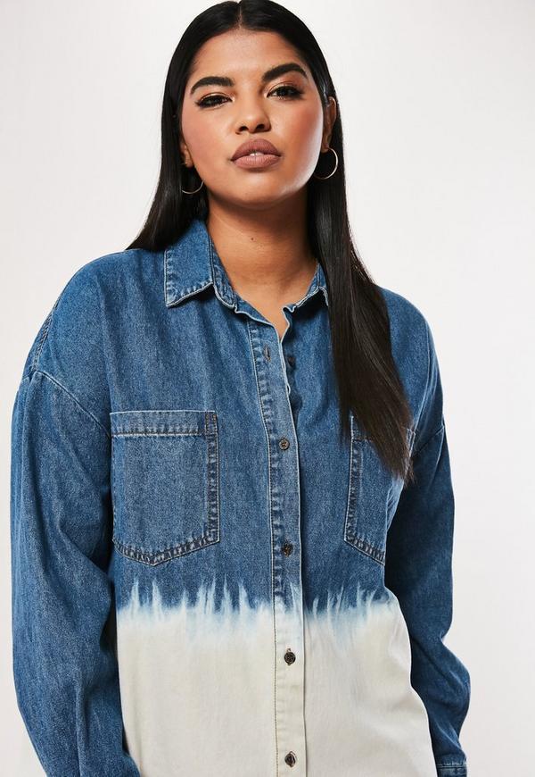 1ebf87b871 ... Plus Size Blue Oversized Dip Dye Denim Shirt Dress. Previous Next