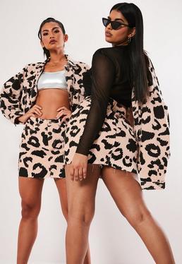 24dd3a92f07ad ... Jacket  Plus Size Pink Leopard Print Denim Co Ord Mini Skirt