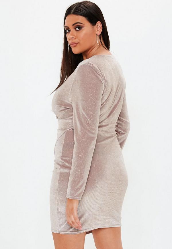 1bb317f84a8 ... Plus Size Pink Glitter Velvet Wrap Dress. Previous Next