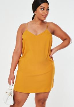 482213f352a6 Vestido camisero talla grande en amarillo mostaza