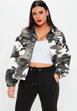 6289ea0508b Plus Size Grey Camo Print Jacket