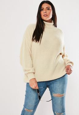 c5694e1abec071 Nude Crop Off Shoulder Knitted Jumper · Plus Size Premium Sand Roll Neck  Boyfriend Jumper