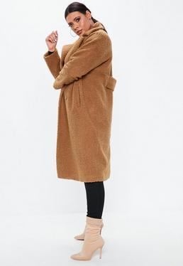 90382be621ae Manteau long camel oversize style laine bouclée Grandes Tailles