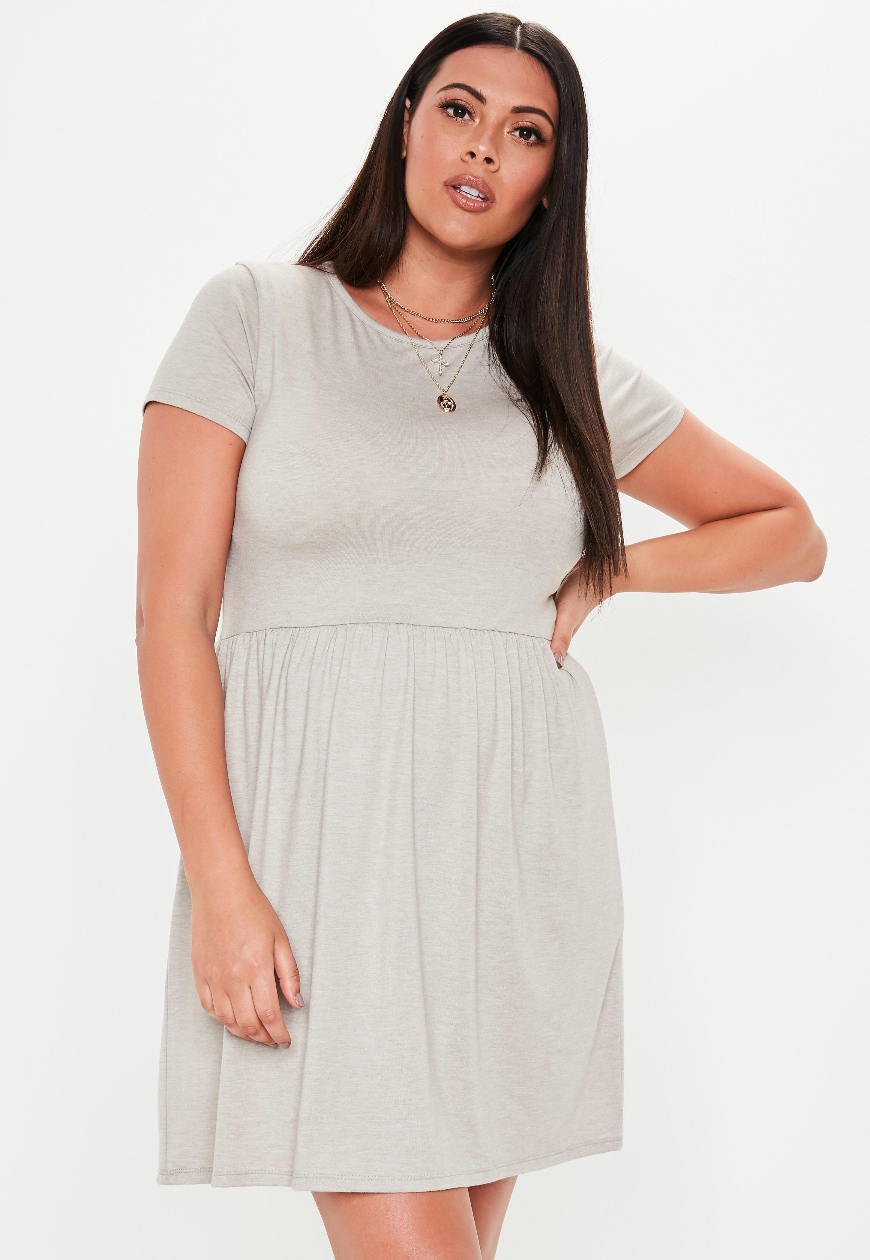 Plus Size Gray Skater Dress