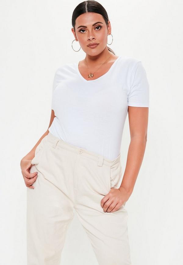 Plus Size White V Neck T-Shirt  d870f6c86