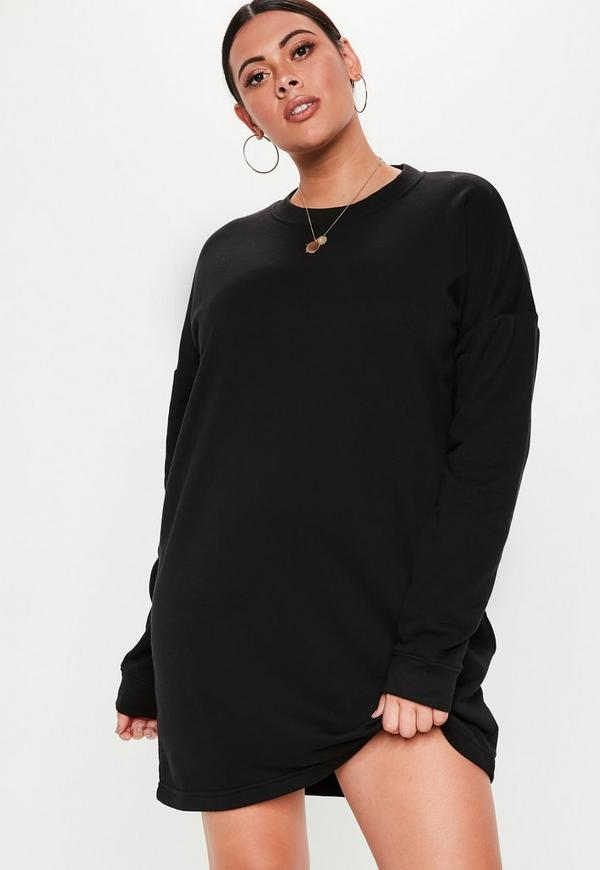 Plus Size Black Oversized Sweater Dress Missguided
