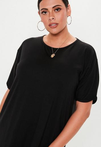 Plus Size Black Oversized T Shirt Dress | Missguided
