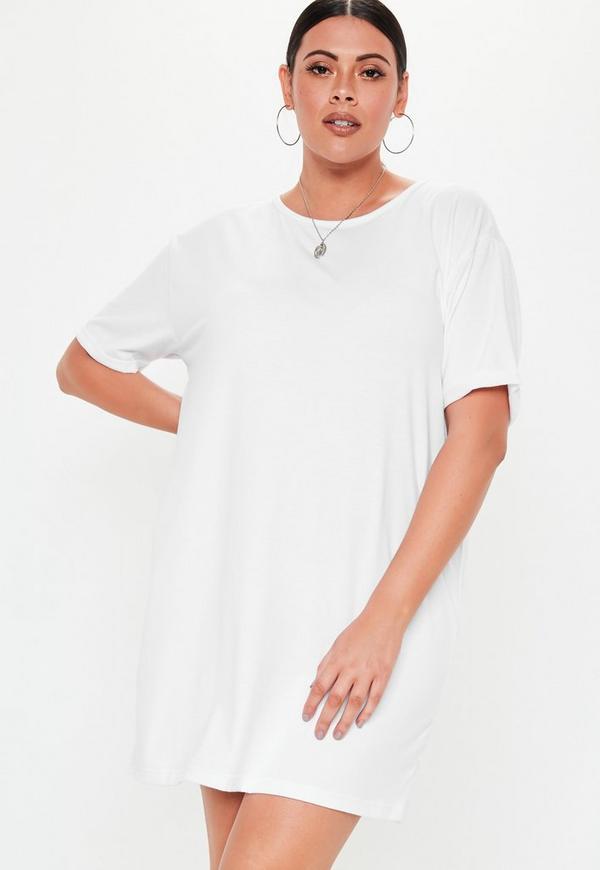 081af8a0316ea ... Plus Size White Oversized T Shirt Dress. Previous Next