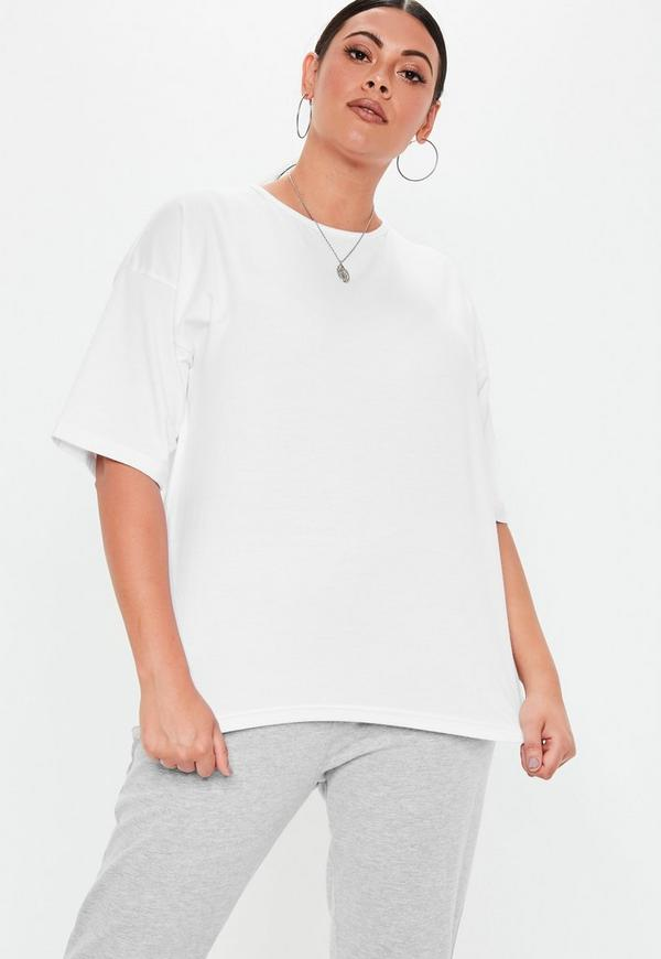 cded0d7cb26 Plus Size White Oversized Drop Shoulder Tee. Previous Next