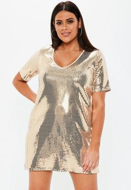 22ac816a96 Plus Size Gold V Neck Sequin T Shirt Dress