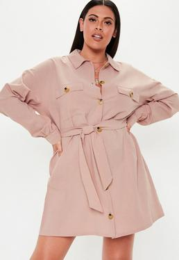 0187609c3d7 Robe courte en lin rose pale avec boutons Grandes Tailles