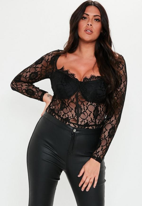 For concealed long sleeve lace bodysuit plus size jcpenney