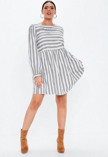 4c9e766e0693 Plus Size Grey Stripe Long Sleeve Skater Dress   Missguided Australia