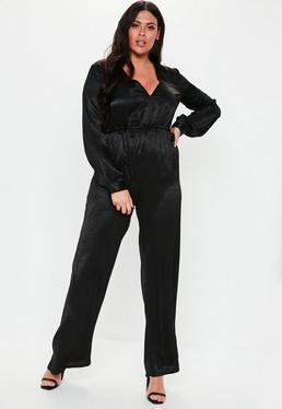 07f762b5f79 Plus Size Black Wide Leg Plunge Satin Jumpsuit