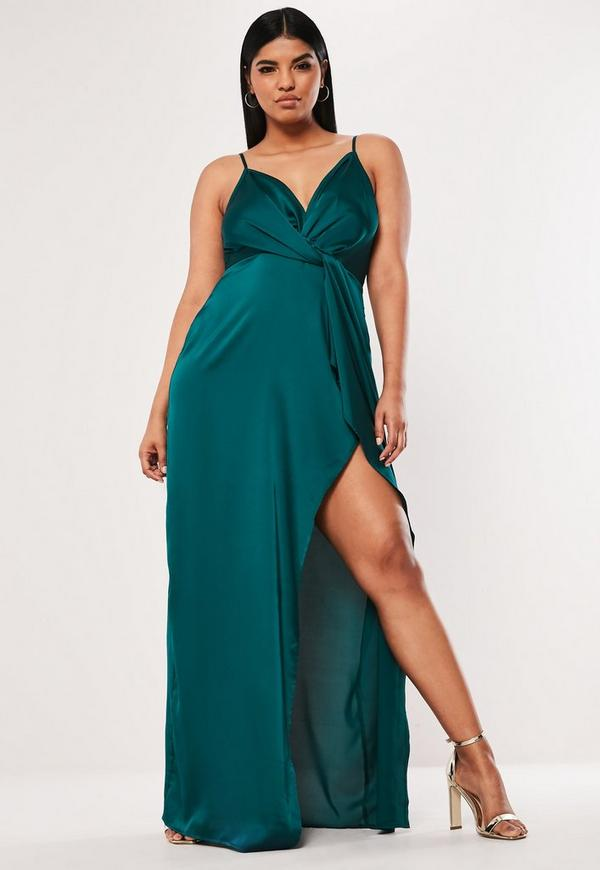 Plus Size Teal Satin Twist Cami Maxi Dress | Missguided