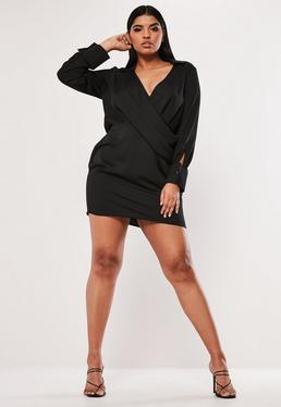 9303254656 Plus Size Czarna satynowa sukienka z kołnierzykiem