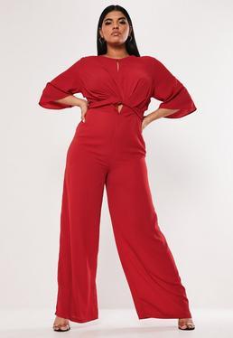 1db1e85e29a ... Plus Size Red Tie Front Wide Leg Jumpsuit