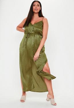 68aa73d05830 Plus Size Khaki Button Down Satin Maxi Dress