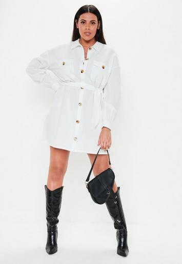 Plus Size White Mock Horn Button Linen Look Shirt Dress | Missguided