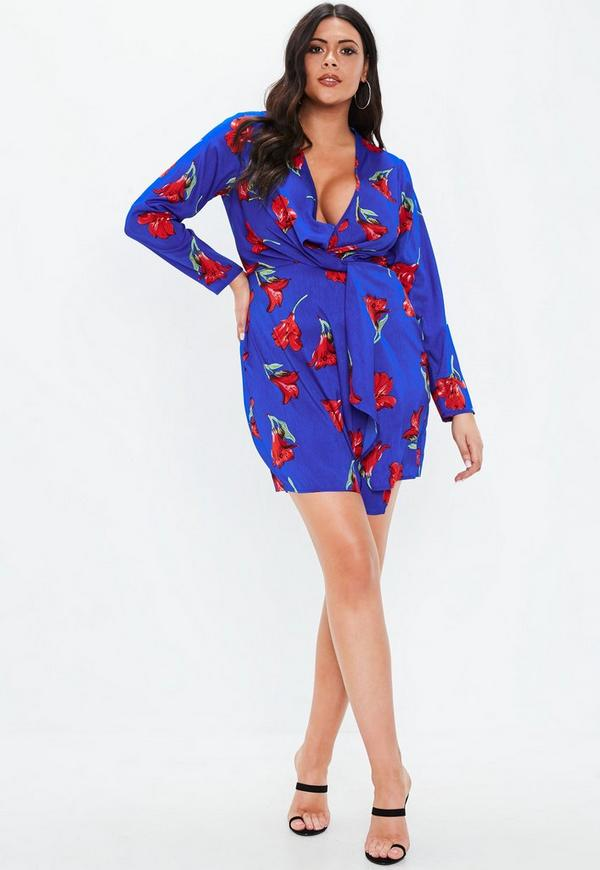 a8f0288b4b8 ... Plus Size Blue Twist Satin Floral Print Mini Dress. Previous Next