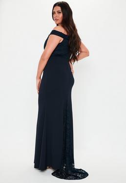 253ec32aa210 Combinaison large noire top dentelle grandes tailles · Robe longue bleue à  col bateau Grandes Tailles
