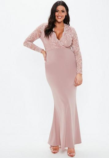 Plus Size Blush Lace Wrap Long Sleeve Maxi Dress Missguided