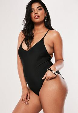 1569bf073d4 ... Plus Size Black Scoop Back High Leg Swimsuit
