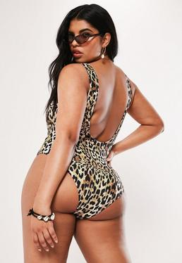 e47ffb8fca Playboy X Missguided White Slogan Bandeau Swimsuit · Plus Size Leopard Print  Scoop Neck Swimsuit