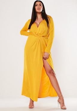61fd36fa9d Plus Size Żółta zawijana sukienka maxi