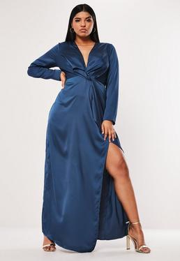 7d29793918 Plus Size Granatowa zawijana sukienka maxi