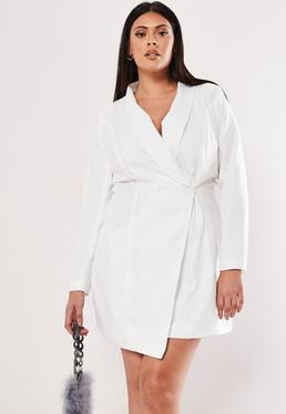 0a4382f72d85 ... Plus Size White Asymmetric Blazer Dress