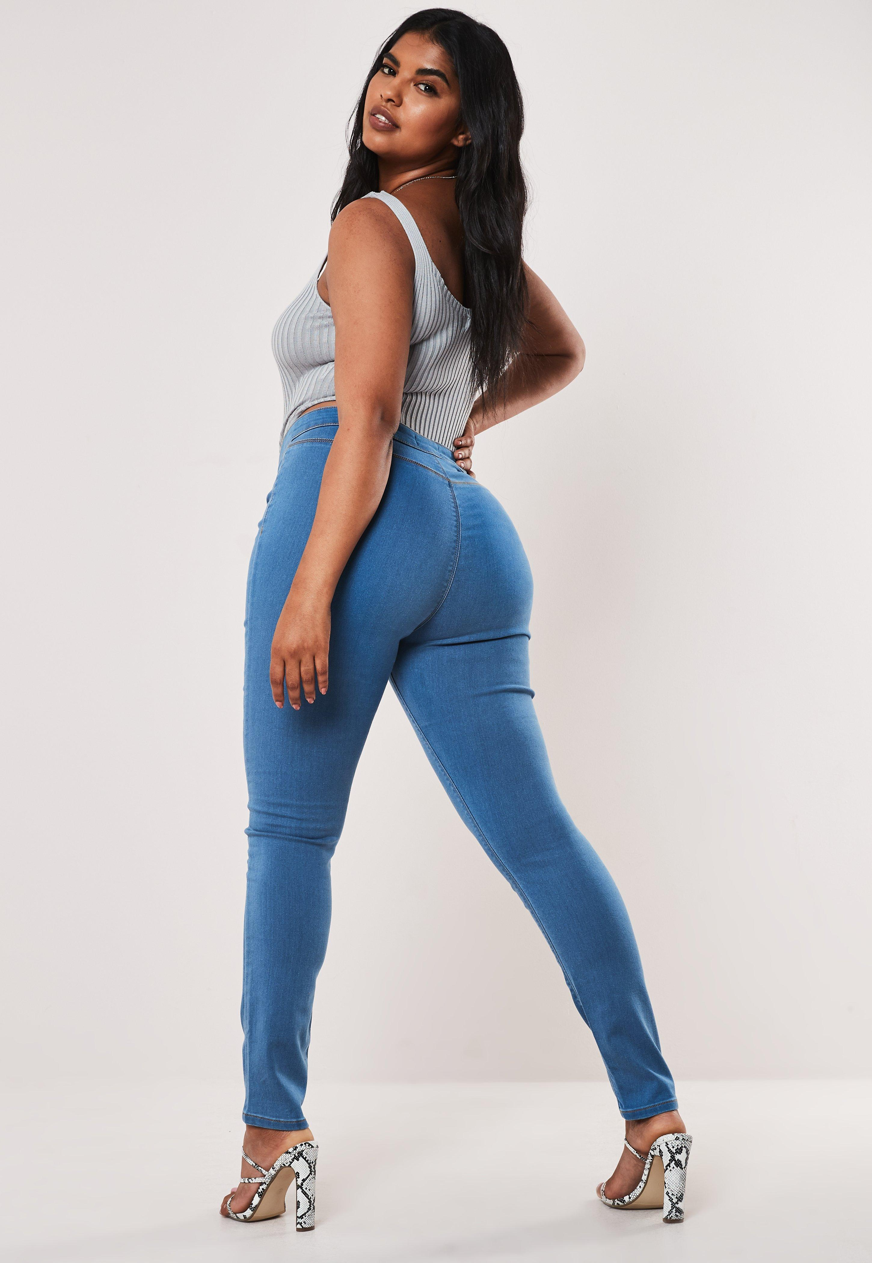 closer at order online big sale Plus Size Blue Outlaw High Waisted Jeggings
